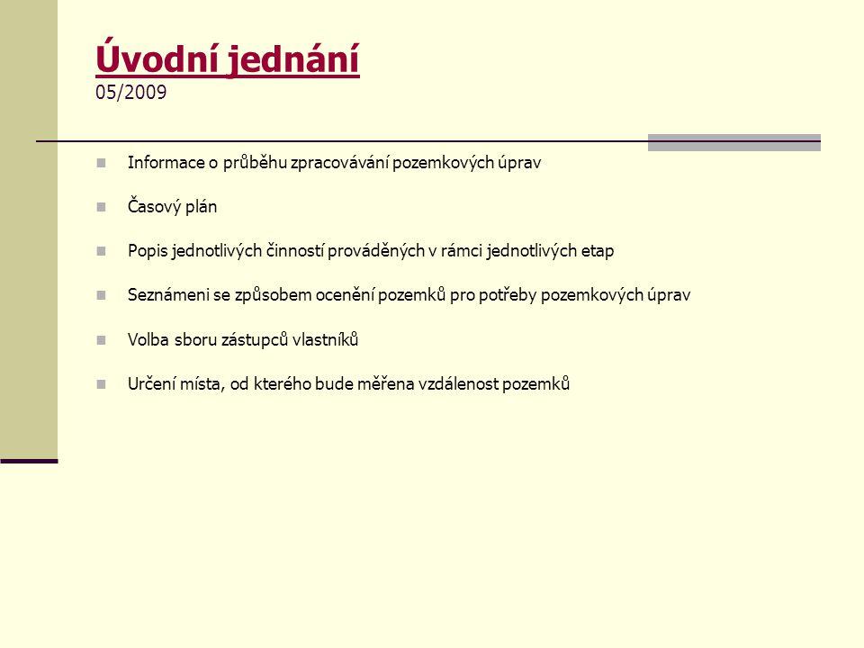 Úvodní jednání 05/2009 Informace o průběhu zpracovávání pozemkových úprav. Časový plán.