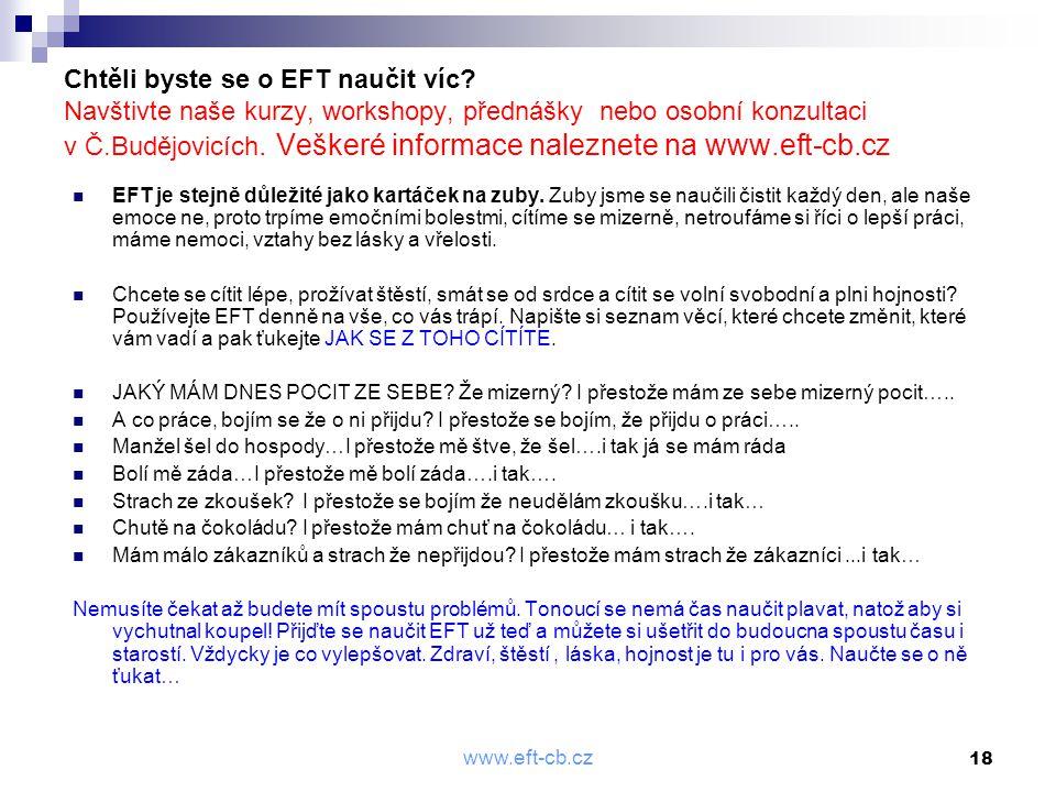 Chtěli byste se o EFT naučit víc