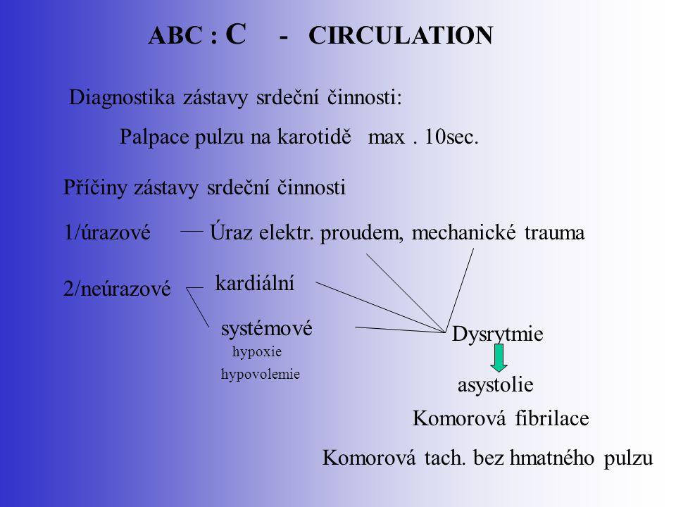 ABC : C - CIRCULATION Diagnostika zástavy srdeční činnosti: