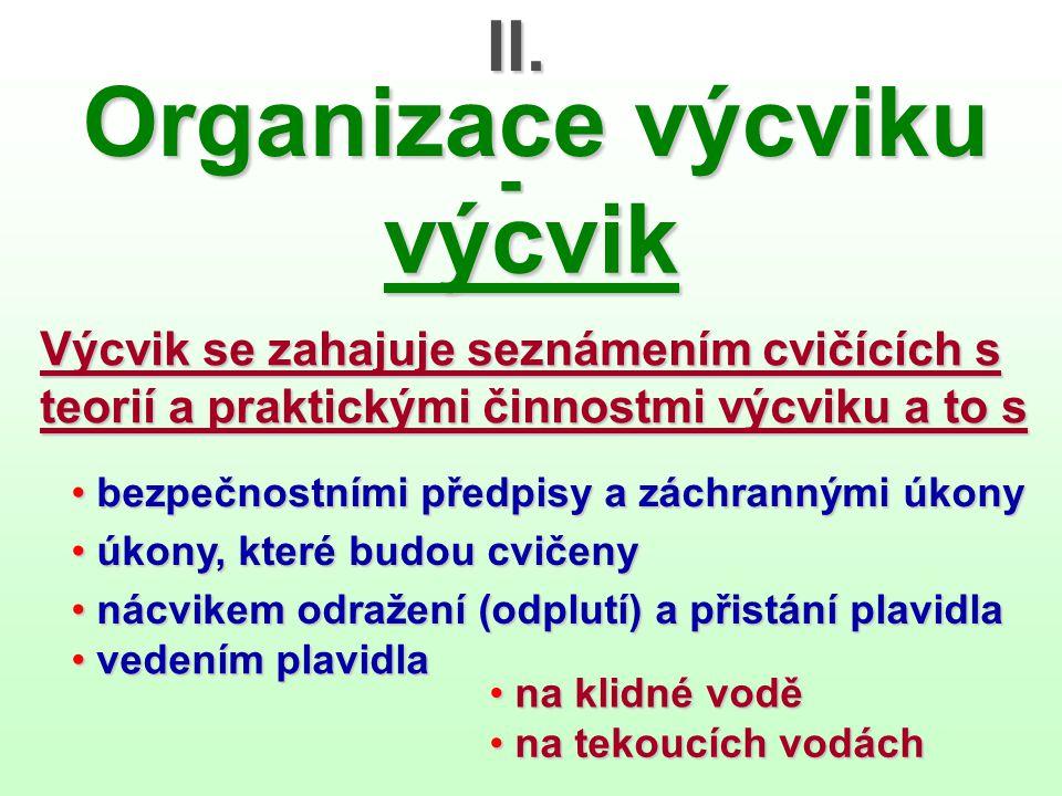 Organizace výcviku výcvik II. -