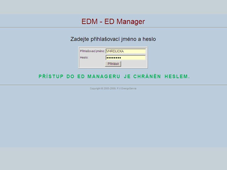 Přístup do ED Manageru je chráněn heslem.