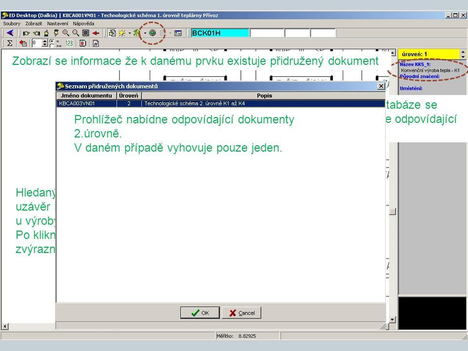 Zobrazí se informace že k danému prvku existuje přidružený dokument
