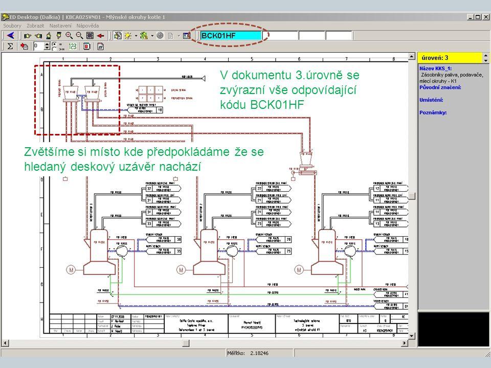 V dokumentu 3.úrovně se zvýrazní vše odpovídající kódu BCK01HF