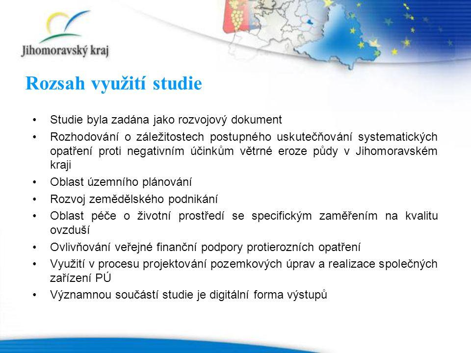 Rozsah využití studie Studie byla zadána jako rozvojový dokument