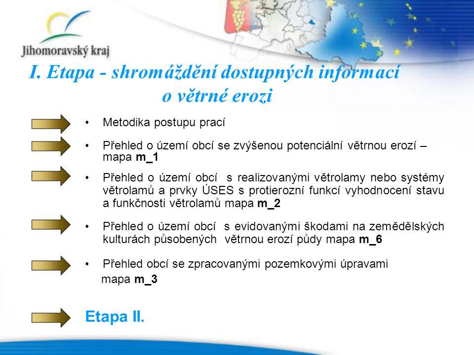I. Etapa - shromáždění dostupných informací o větrné erozi