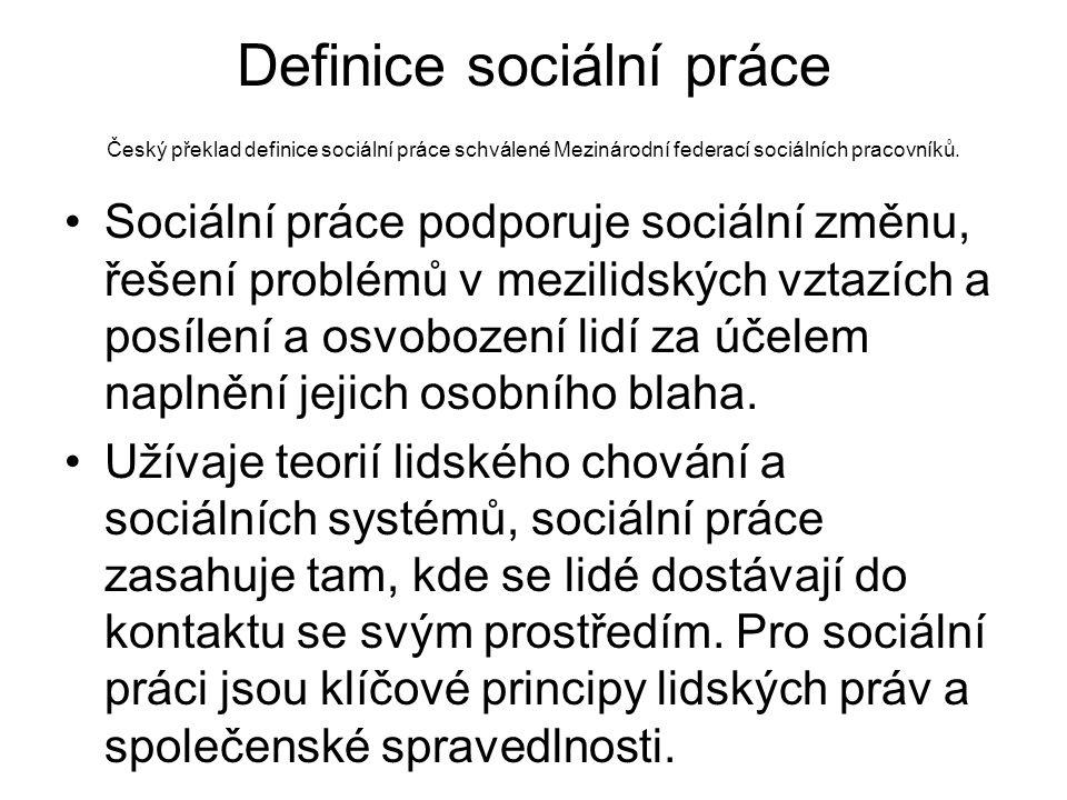Definice sociální práce Český překlad definice sociální práce schválené Mezinárodní federací sociálních pracovníků.