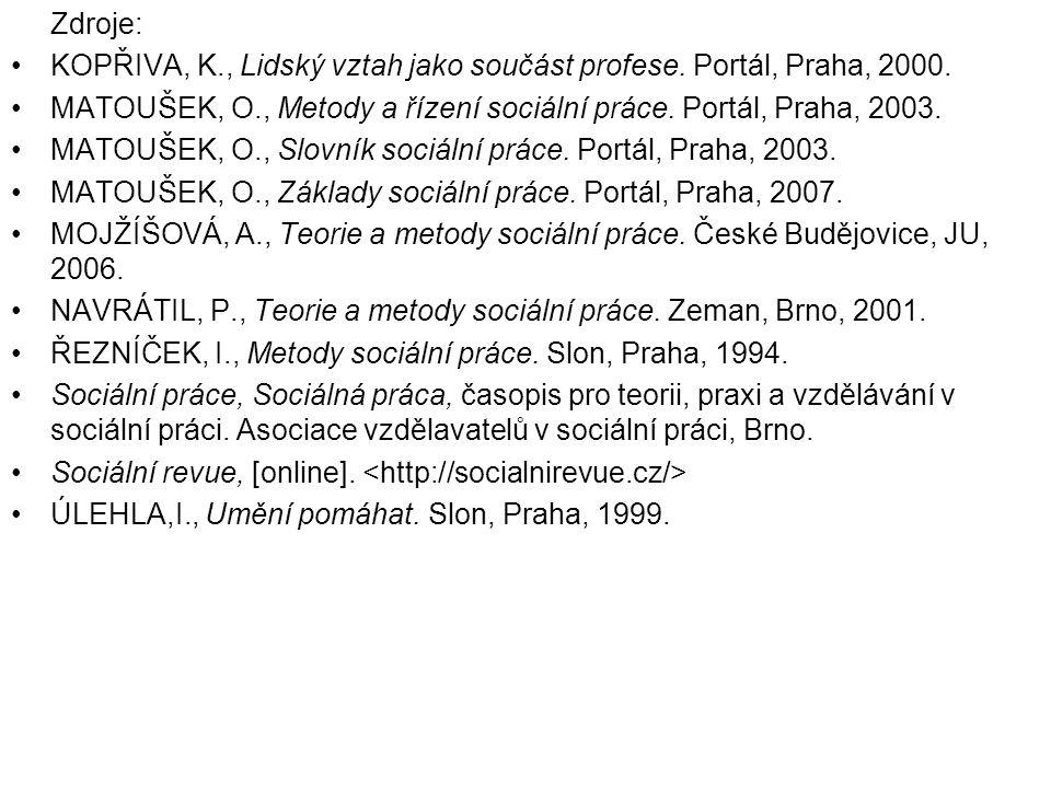 Zdroje: KOPŘIVA, K., Lidský vztah jako součást profese. Portál, Praha, 2000. MATOUŠEK, O., Metody a řízení sociální práce. Portál, Praha, 2003.