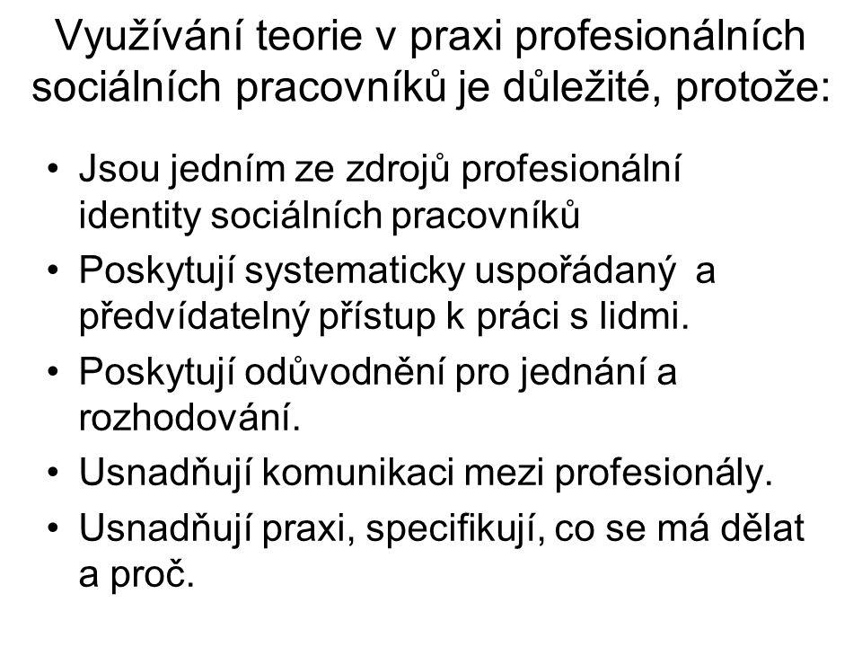Využívání teorie v praxi profesionálních sociálních pracovníků je důležité, protože: