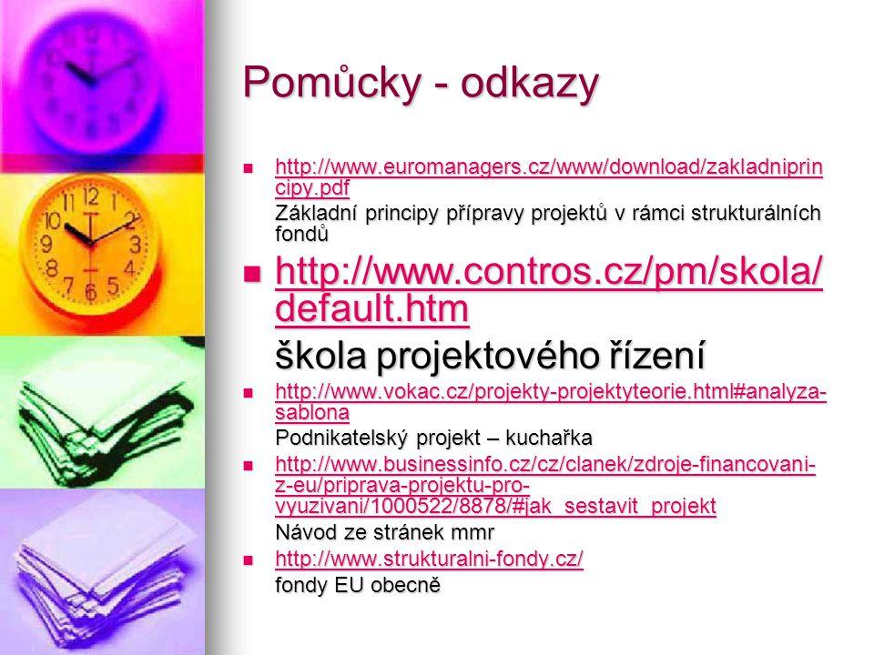Pomůcky - odkazy http://www.contros.cz/pm/skola/default.htm