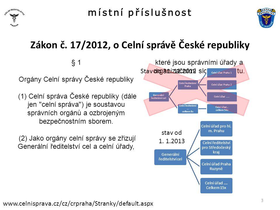 Zákon č. 17/2012, o Celní správě České republiky
