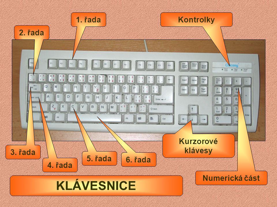 KLÁVESNICE 1. řada Kontrolky 2. řada Kurzorové klávesy 3. řada 5. řada