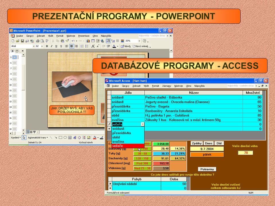 PREZENTAČNÍ PROGRAMY - POWERPOINT DATABÁZOVÉ PROGRAMY - ACCESS