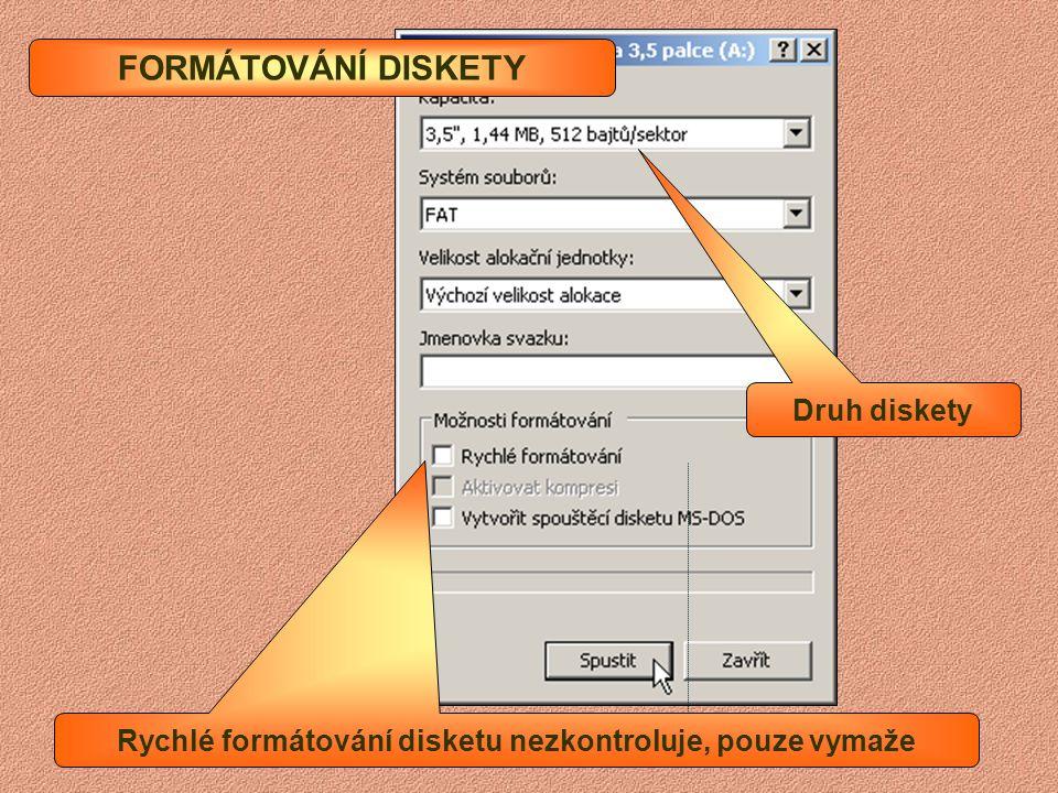 Rychlé formátování disketu nezkontroluje, pouze vymaže