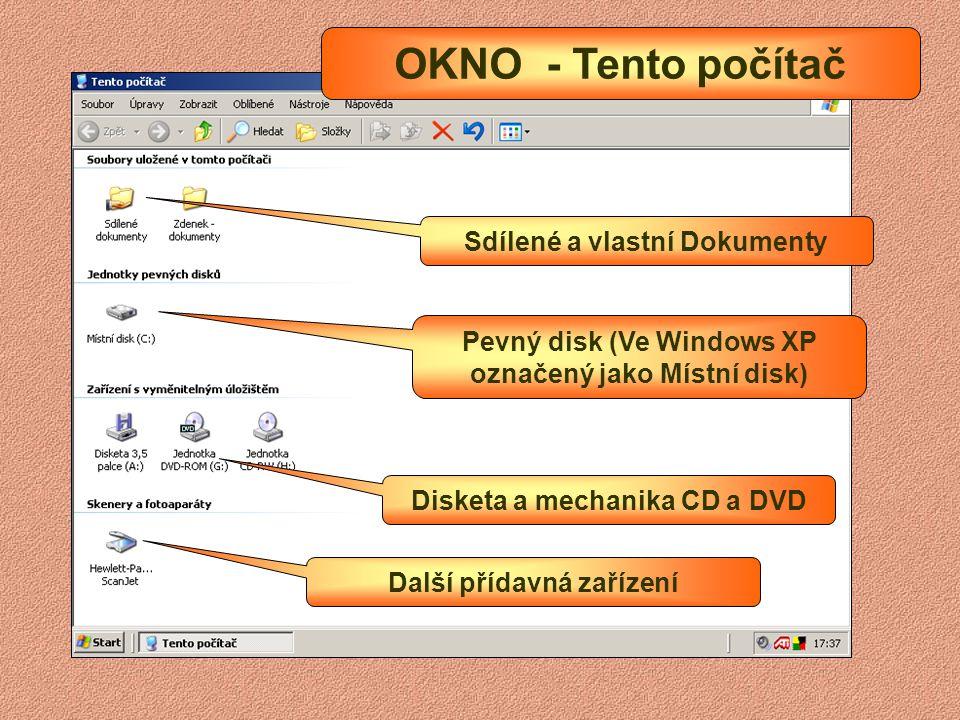 OKNO - Tento počítač Sdílené a vlastní Dokumenty
