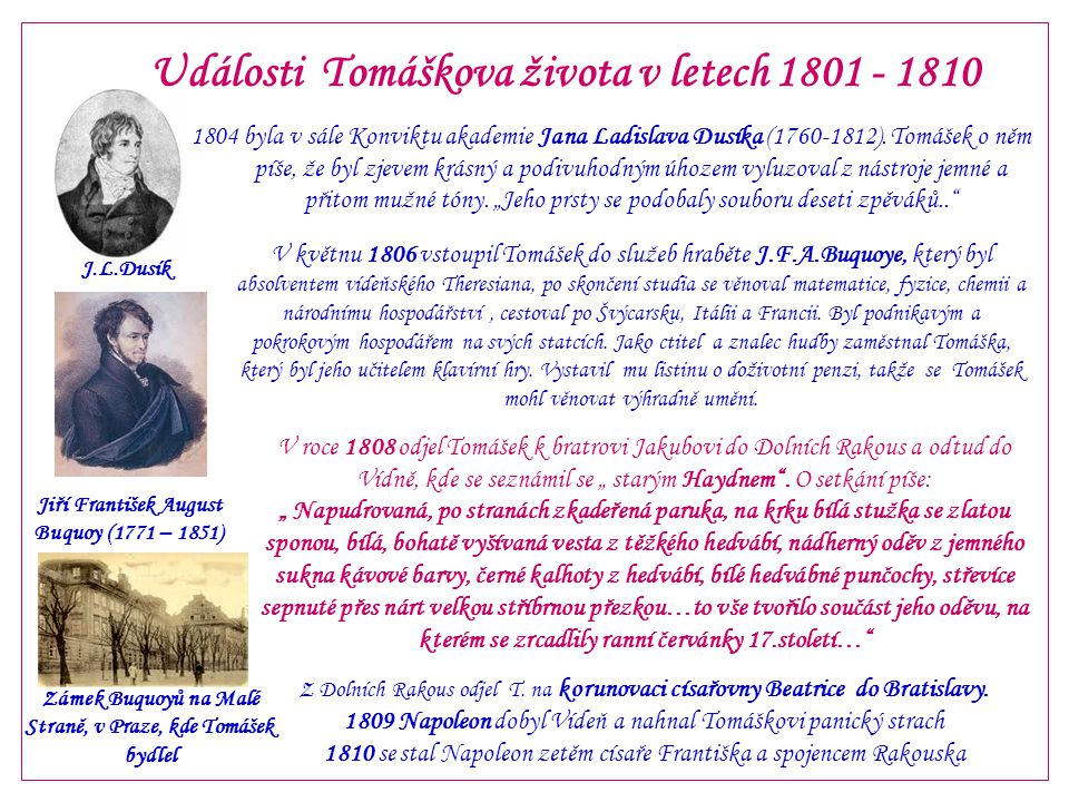 Události Tomáškova života v letech 1801 - 1810