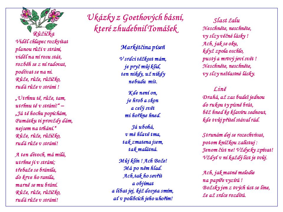 Ukázky z Goethových básní, které zhudebnil Tomášek