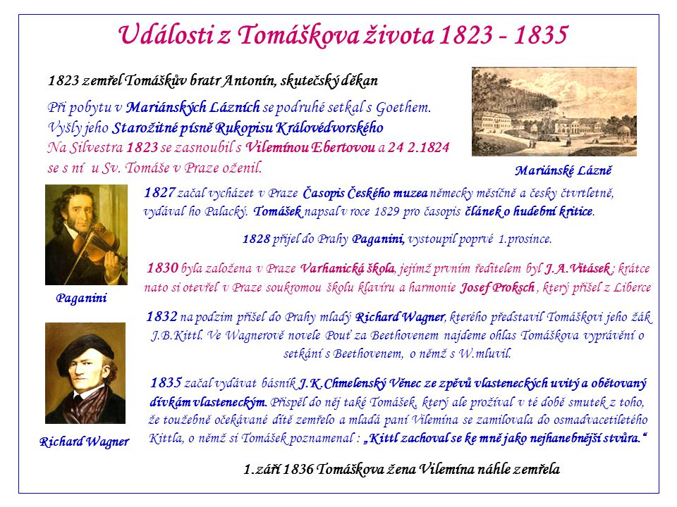 Události z Tomáškova života 1823 - 1835