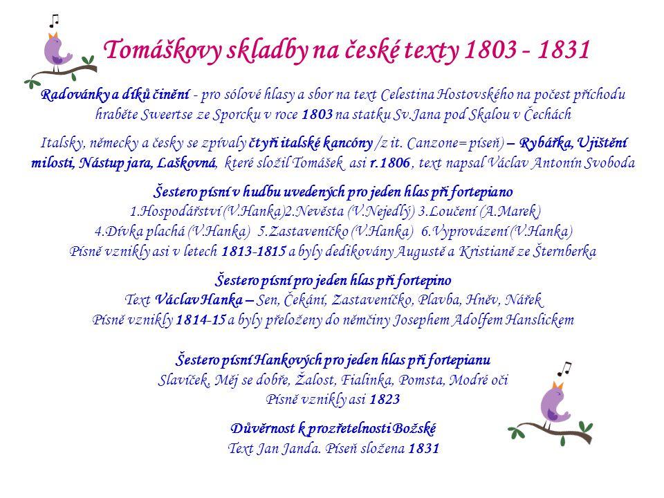 Tomáškovy skladby na české texty 1803 - 1831
