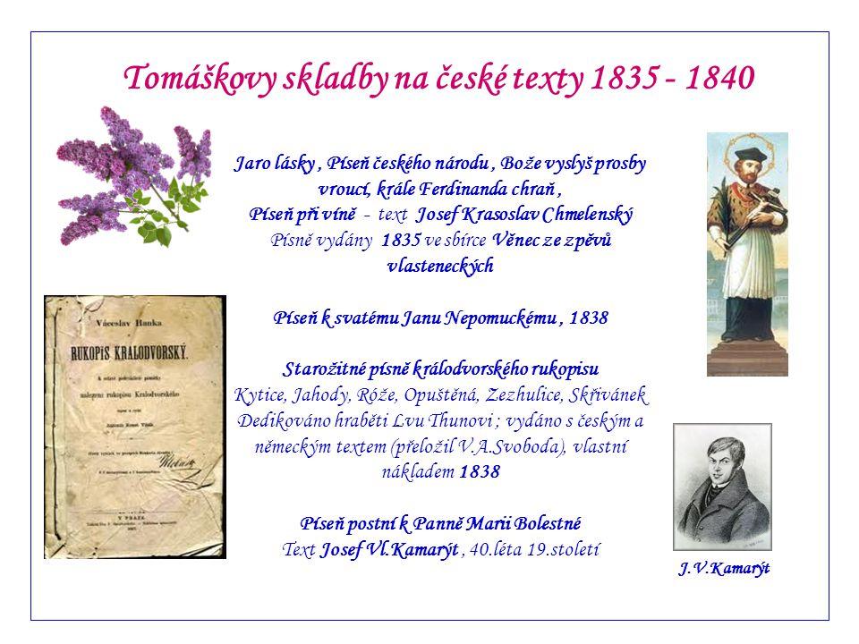 Tomáškovy skladby na české texty 1835 - 1840