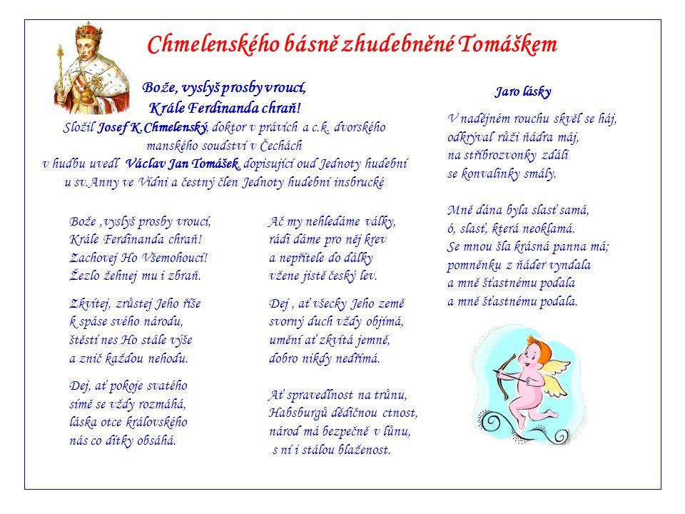 Chmelenského básně zhudebněné Tomáškem