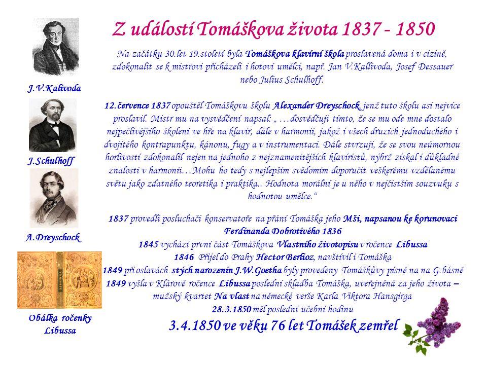 Z událostí Tomáškova života 1837 - 1850