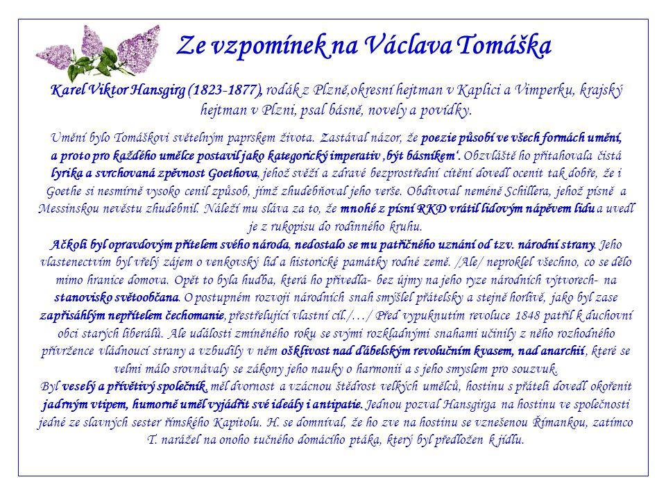 Ze vzpomínek na Václava Tomáška