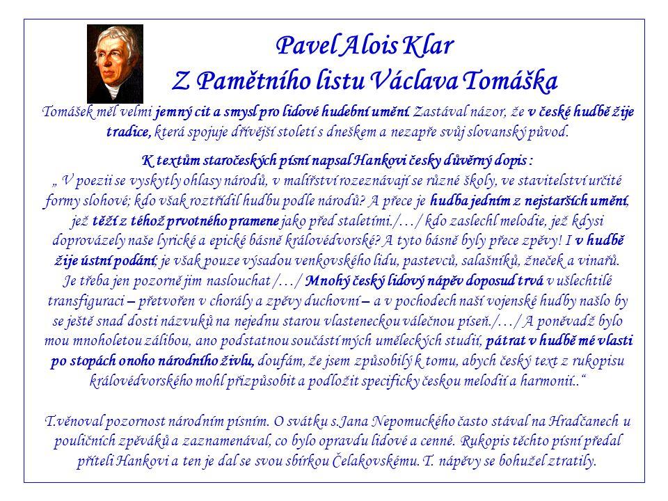 Pavel Alois Klar Z Pamětního listu Václava Tomáška