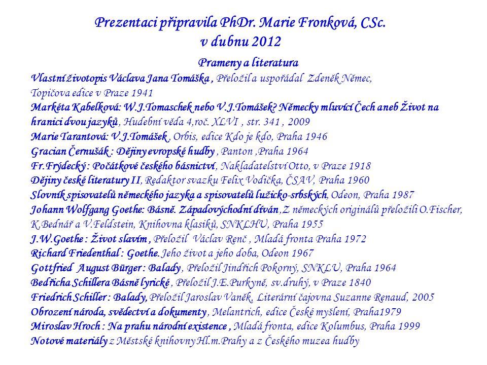 Prezentaci připravila PhDr. Marie Fronková, CSc.