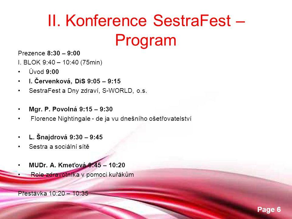 II. Konference SestraFest – Program