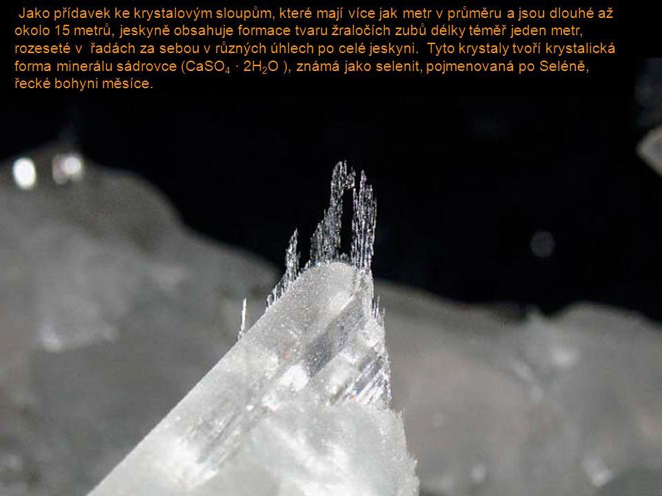 Jako přídavek ke krystalovým sloupům, které mají více jak metr v průměru a jsou dlouhé až okolo 15 metrů, jeskyně obsahuje formace tvaru žraločích zubů délky téměř jeden metr, rozeseté v řadách za sebou v různých úhlech po celé jeskyni.