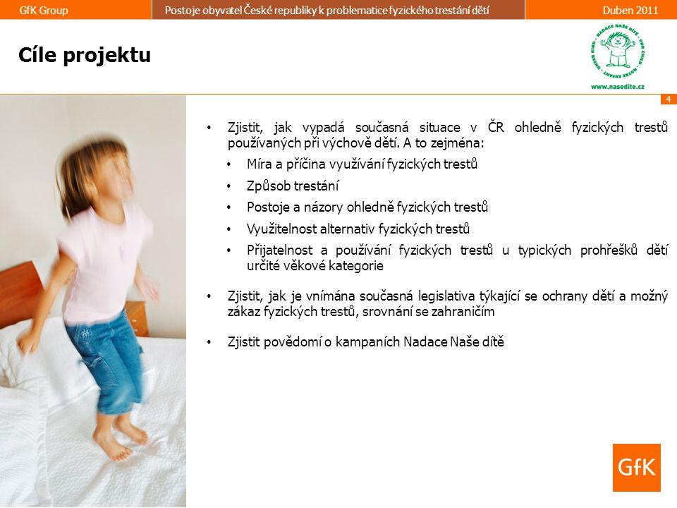 Cíle projektu Zjistit, jak vypadá současná situace v ČR ohledně fyzických trestů používaných při výchově dětí. A to zejména: