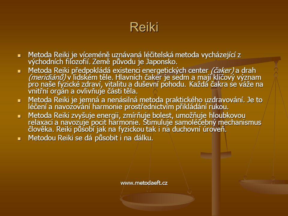 Reiki Metoda Reiki je víceméně uznávaná léčitelská metoda vycházející z východních filozofií. Země původu je Japonsko.