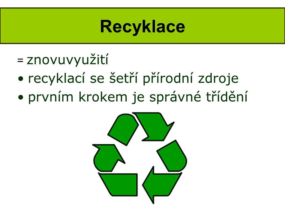 Recyklace recyklací se šetří přírodní zdroje