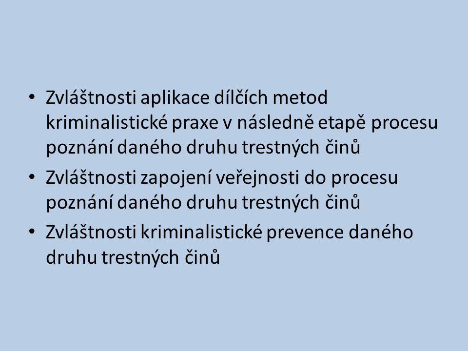 Zvláštnosti aplikace dílčích metod kriminalistické praxe v následně etapě procesu poznání daného druhu trestných činů