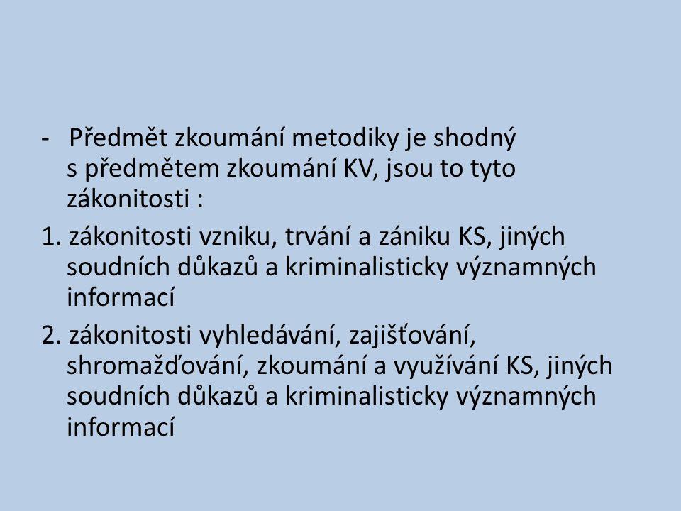 - Předmět zkoumání metodiky je shodný s předmětem zkoumání KV, jsou to tyto zákonitosti :