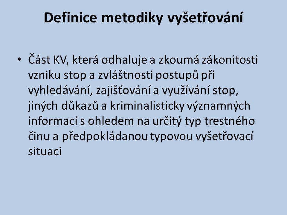 Definice metodiky vyšetřování