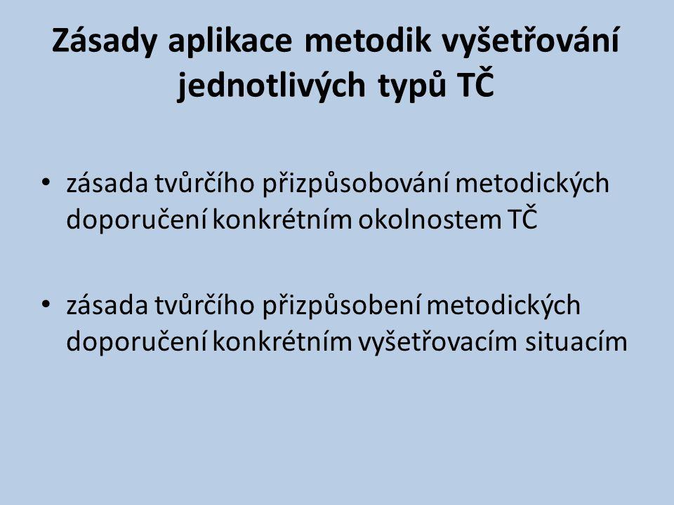 Zásady aplikace metodik vyšetřování jednotlivých typů TČ