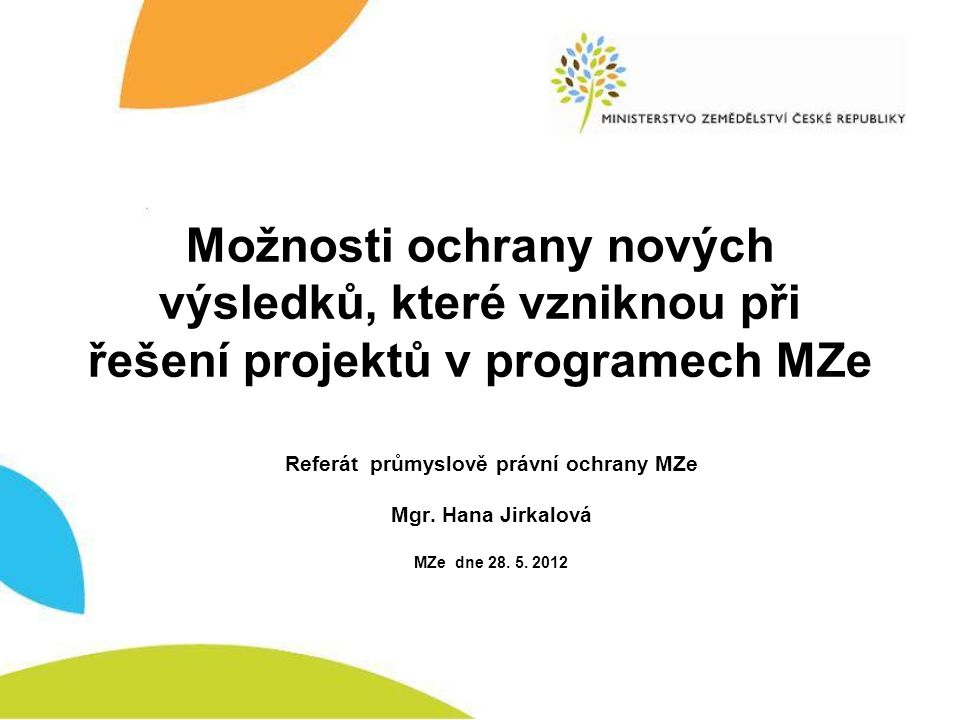 Referát průmyslově právní ochrany MZe