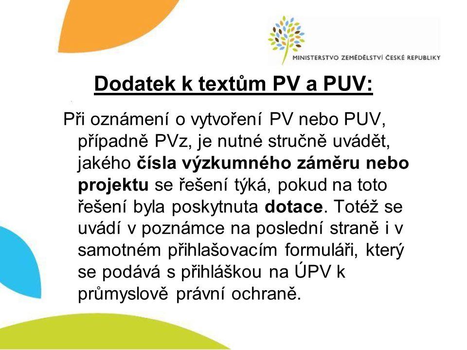 Dodatek k textům PV a PUV: