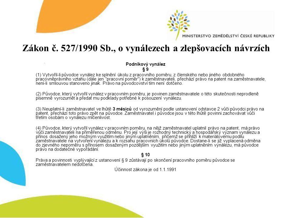 Zákon č. 527/1990 Sb., o vynálezech a zlepšovacích návrzích