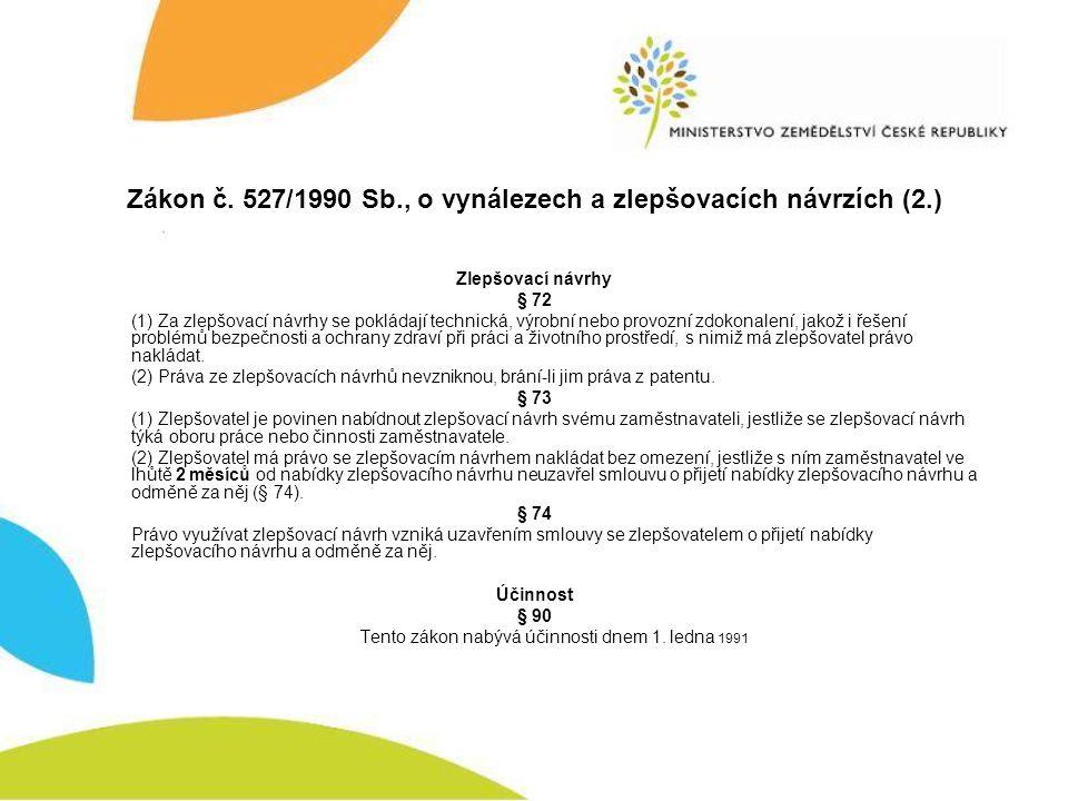 Zákon č. 527/1990 Sb., o vynálezech a zlepšovacích návrzích (2.)