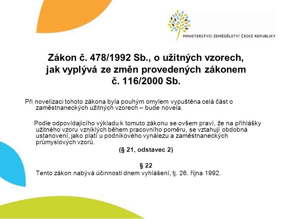 Zákon č. 478/1992 Sb., o užitných vzorech, jak vyplývá ze změn provedených zákonem č. 116/2000 Sb.