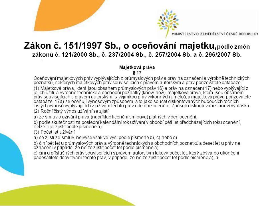 Zákon č. 151/1997 Sb. , o oceňování majetku,podle změn zákonů č