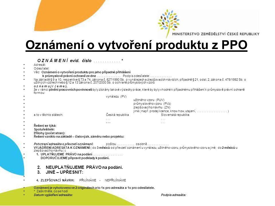 Oznámení o vytvoření produktu z PPO
