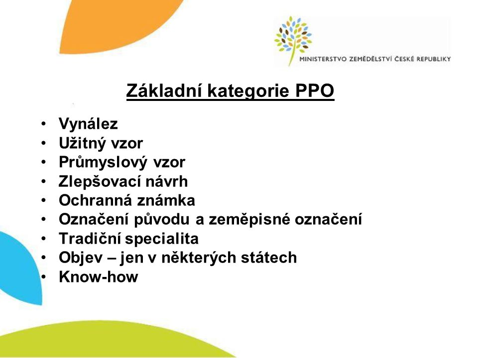 Základní kategorie PPO