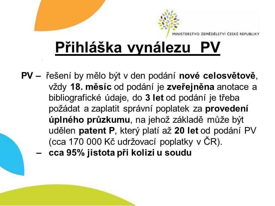 Přihláška vynálezu PV