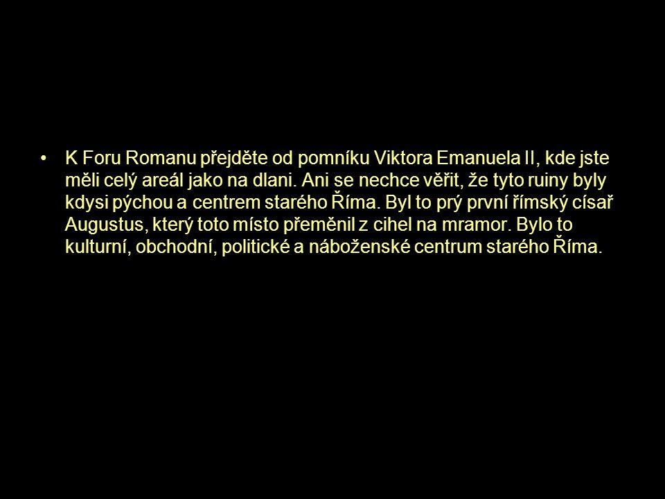 K Foru Romanu přejděte od pomníku Viktora Emanuela II, kde jste měli celý areál jako na dlani.