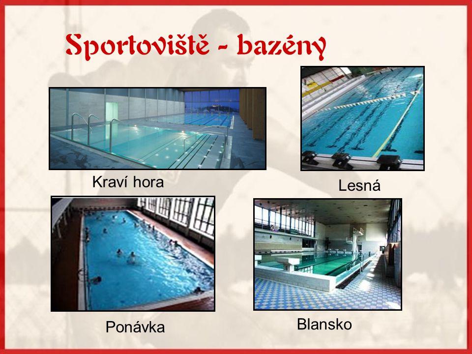 Sportoviště - bazény Kraví hora Lesná Ponávka Blansko