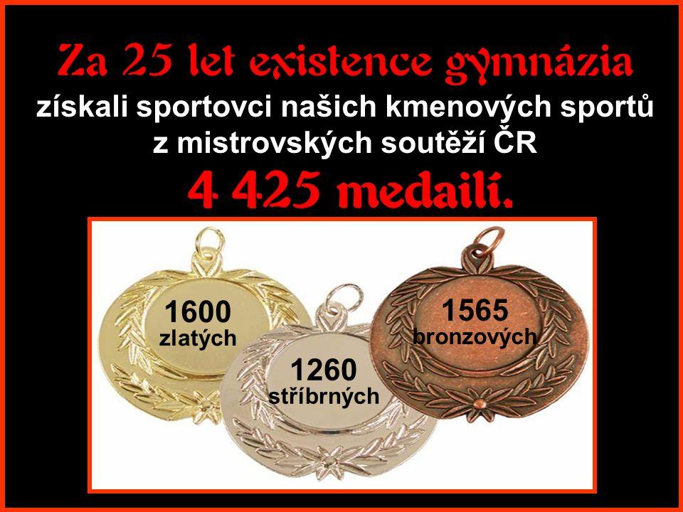Za 25 let existence gymnázia získali sportovci našich kmenových sportů z mistrovských soutěží ČR 4 425 medailí.