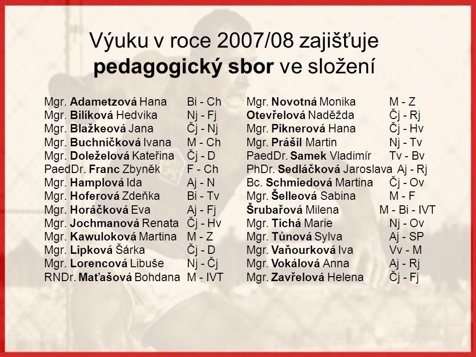 Výuku v roce 2007/08 zajišťuje pedagogický sbor ve složení